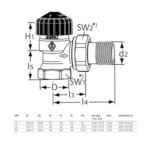 IMI Heimeier – Ventil termostatický Calypso M30x1,5 rohový, zkrácený s vnitřním závitem 1/2″ x 1/2″