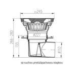 Chuděj – Vpusť kanalizační KVB/L 110/250 V Li s litinovou mřížkou 245 x 245 mm, boční odpad 110 mm, vodní klapka