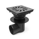 Chuděj – Vpusť kanalizační KVB/L 110/250 S Li s litinovou mřížkou 245 x 245 mm, boční odpad 110 mm, suchá klapka