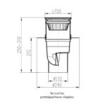 Chuděj – Vpusť kanalizační KVS 110 S Li s litinovou mřížkou 150 x 150 mm, spodní odpad 110 mm, suchá klapka