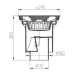 Chuděj – Vpusť kanalizační KVS 160 S Li s litinovou mřížkou 245 x 245 mm, spodní odpad 160/110 mm, suchá klapka