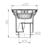 Chuděj – Vpusť kanalizační KVS 160 S P s plastovou mřížkou 245 x 245 mm, spodní odpad 160/110 mm, suchá klapka