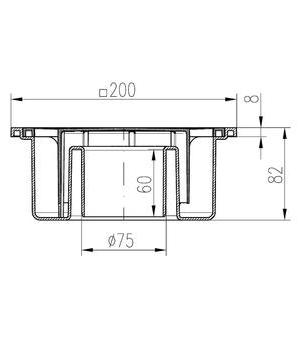 Chuděj – Vpusť podlahová PV D 75 P s plastovou mřížkou 200 x 200 mm, spodní odpad 75 mm, vodní hladina