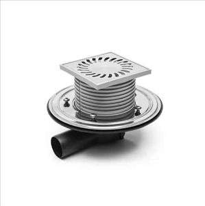 Chuděj – Vpusť podlahová PVBU 50 PR s nerezovou mřížkou 122 x 122 mm, s přírubou, boční odpad 50 mm, suchá klapka/vodní hladina