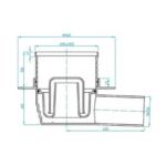 Plast Brno – Vpusť podlahová s nerezovou mřížkou 100 x 100 mm s bočním odpadem 50 mm