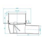 Plast Brno – Vpusť podlahová s nerezovou mřížkou 100 x 100 mm s bočním odpadem 50 mm, suchá klapka