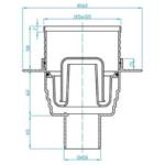 Plast Brno – Vpusť podlahová s nerezovou mřížkou 100 x 100 mm se spodním odpadem 50 mm