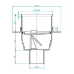 Plast Brno – Vpusť podlahová s nerezovou mřížkou 100 x 100 mm se spodním odpadem 50 mm, suchá klapka